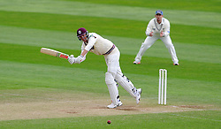 Somerset's Craig Overton flicks the ball. Photo mandatory by-line: Harry Trump/JMP - Mobile: 07966 386802 - 11/05/15 - SPORT - CRICKET - Somerset v New Zealand - Day 4 - The County Ground, Taunton, England.