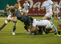 January 11, 2019 - Sugar Land, TX, U.S. - SUGAR LAND, TX - JANUARY 11:  Austin Elite center Sione Fangaiuha (13) tackles Houston SaberCats 8-man Alex Elkins (8) during the pre-season exhibition rugby match between the Austin Elite and Houston SaberCats on January 11, 2019 at Constellation Field in Sugar Land, Texas.  (Photo by Leslie Plaza Johnson/Icon Sportswire) (Credit Image: © Leslie Plaza Johnson/Icon SMI via ZUMA Press)