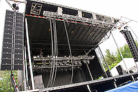 The main stage area where the headliners will take the stage during Laconia Fest during Motorcycle Week starting this weekend.  (Karen Bobotas/for the Laconia Daily Sun)