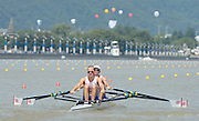 Chungju, South Korea. GBR LM2X, Bow Richard CHAMBERs and Peter CHAMBERS at the start of their heat at the 2013 FISA World Rowing Championships,  Tangeum Lake International Regatta Course. 11:59:51  Sunday  25/08/2013 [Mandatory Credit. Peter Spurrier/Intersport Images]