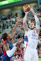 Nenad Krstic #12 of Serbia during basketball match between National teams of France and Serbia in 2nd Round at Day 12 of Eurobasket 2013 on September 14, 2013 in SRC Stozice, Ljubljana, Slovenia. (Photo By Urban Urbanc / Sportida)