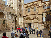 Exterior of the church of the Holy Sepulchre, Old city, Jerusalem, Israel. The main entrance