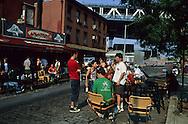 New York.  DUMBO area, dance and music under Manhattan bridge New York  Usa   /   Dumbo, dance and music guinguette  sous le pont de Manhattan New York  USa