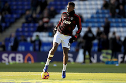 Manchester United's Paul Pogba warms up on the pitch prior to the Premier League match at the King Power Stadium, Leicester.