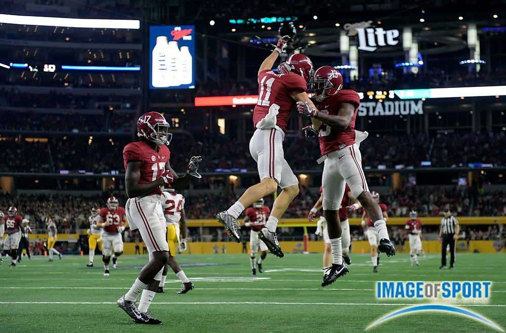 Sep 3, 2016; Arlington, TX, USA; Alabama Crimson Tide wide receiver Gehrig Dieter (11) reacts after scoring a touchdown during the second half against the USC Trojans at AT&T Stadium.