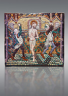 Enamelled plaque depicting Christ's flagellation made in Limoges at the end of the 15th century, attributed to Master Pseudo-Monvaerni. inv 6309, The Louvre Museum, Paris. .<br /> <br /> If you prefer you can also buy from our ALAMY PHOTO LIBRARY  Collection visit : https://www.alamy.com/portfolio/paul-williams-funkystock/limoges-enamel-antiquities.html Type -     louvre     - into the LOWER SEARCH WITHIN GALLERY box. <br /> <br /> Visit our MEDIEVAL ART PHOTO COLLECTIONS for more   photos  to download or buy as prints https://funkystock.photoshelter.com/gallery-collection/Medieval-Gothic-Art-Antiquities-Historic-Sites-Pictures-Images-of/C0000gZ8POl_DCqE