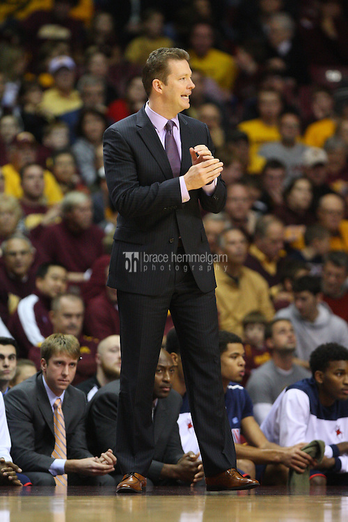 Nov 18, 2012; Minneapolis, MN, USA; Richmond Spiders head coach Chris Mooney against the Minnesota Golden Gophers at Williams Arena. The Gophers defeated the Spiders 72-57. Mandatory Credit: Brace Hemmelgarn