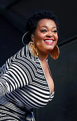 27 April 2013. New Orleans, Louisiana,  USA. .New Orleans Jazz and Heritage Festival. Jill Scott on the Congo Square stage..Photo; Charlie Varley.