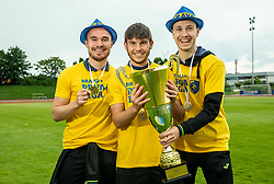 Marko Klemencic, Domen Jugovar and ... during celebration of NK Bravo, winning team in 2nd Slovenian Football League in season 2018/19 after they qualified to Prva Liga, on May 26th, 2019, in Stadium ZAK, Ljubljana, Slovenia. Photo by Vid Ponikvar / Sportida
