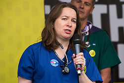London, UK. 23rd March, 2019. Dr Rachel Clark addresses a million people taking part in a People's Vote rally in Parliament Square following a march from Park Lane.