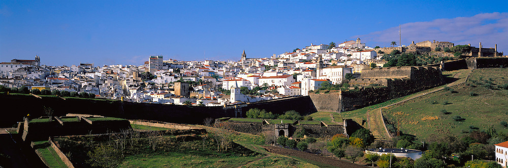 PORTUGAL, ALENTEJO AREA Elvas, one of Portugal's mightiest walled fortress cities on the border with Spain; with star shaped walls and moats