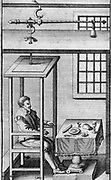 Sanctorius (Sanctorio Sanctorio) (1561-1636) Italian physician and physiologist, friend of Galileo.  Shown here seated in his balance (a steelyard) in which he could eat and sleep.  He was the first to perform experiments on metabolism.  From 'Ars de statica medicina' by Sanctorius (Leyden, 1711).