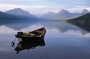View of empty boat on McDonald lake at Glacier National Park Montana US