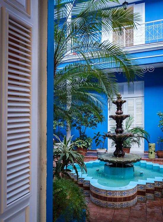 CIENFUEGOS, CUBA - CIRCA JANUARY 2020: Interior Patio of the Hotel Boutique La Union in Cienfuegos