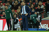 Gareth Southgate, the England interim manager looks on. England v Spain, Football international friendly at Wembley Stadium in London on Tuesday 15th November 2016.<br /> pic by John Patrick Fletcher, Andrew Orchard sports photography.