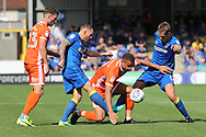 AFC Wimbledon defender Barry Fuller (2) and AFC Wimbledon defender Paul Robinson (6) battles for possession during the EFL Sky Bet League 1 match between AFC Wimbledon and Shrewsbury Town at the Cherry Red Records Stadium, Kingston, England on 12 August 2017. Photo by Matthew Redman.