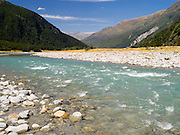 View of the WIlkins River area, Mount Aspiring National Park, off of the Makarora RIver and Lake Wanaka, near Makarora, Otago, New Zealand
