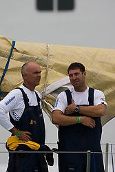 © Sander van der Borch.Alicante, 11 October 2008. Start of the Volvo Ocean Race. Bouwe Bekking and Simon Fisher, Telefonica blue.