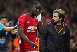 Manchester United's Eric Bailly makes his way off the pitch after being shown a red card during the UEFA Europa League, Second Leg match at Old Trafford, Manchester.