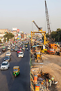 Traffic and Metro construction work at South Extension Market. New Delhi, India