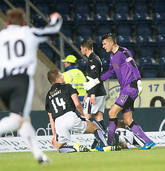 Falkirk's keeper Alex Tokarczyk, and Falkirk's Peter Grant after Fraserburgh's Marc Lawrence scoring their goal. <br /> Falkirk 4 v 1 Fraserburgh, Scottish Cup third round, played 28/11/2015 at The Falkirk Stadium.