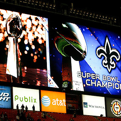 2010 February 07: The jumbo screen at the stadium flashes Saints Super Bowl Champions following a 31-17 win by the New Orleans Saints over the Indianapolis Colts in Super Bowl XLIV at Sun Life Stadium in Miami, Florida.