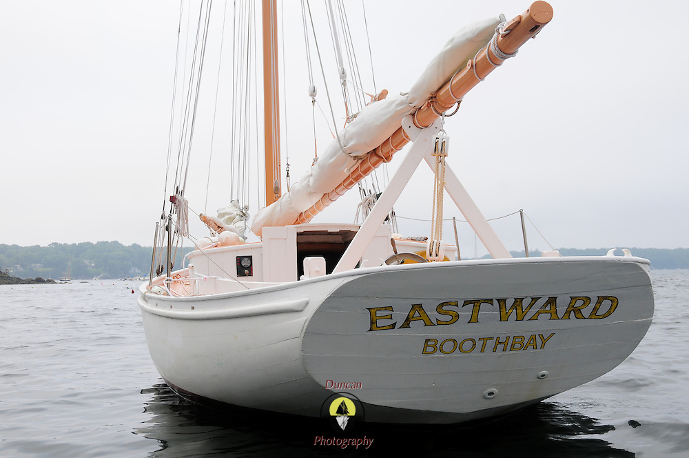 """Eastward is for sale. .Gray & Gray in York, Maine is handling the sale.  ..email them at: graygray@gwi.net.Toll-free 877-239-9212.Tel (207) 363-7997.Cell 603-498-3450.Fax (207) 363-7807...Stats: .Built: 1956, wooden, James Chadwick from Murray Peterson design..32' on deck, 27' at the waterline and 40' overall.Beam: 10' 7"""".Draws: 5' 4"""".With Topmast, height above waterline is 55 feet..Approximate gross weight : 7 tons. .  .Engine:  28HP Beta Marine Diesel installed 2009 - It moves her about 5.5 knots in low seas.  ..In 1998, her keel had major repair done by Ralph Stanley in Southwest Harbor and in 2009 her stern was reconstructed at Paul E. Luke Inc in East Boothbay. ..She's currently owned by Robert C. Duncan of Concord, Mass and maintained by Luke's Boatyard with indoor winter storage. For more information call Robert Duncan at 978-369-2593. .."""