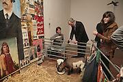 Helen Galland, Barney the goat and Colin Thubron, Misadventure In the Middle East. Travels As a Tramp, Artist and Spy by Henry Hemming. Book launch and exhibition. Paradise Row. London. E2.  -DO NOT ARCHIVE-© Copyright Photograph by Dafydd Jones. 248 Clapham Rd. London SW9 0PZ. Tel 0207 820 0771. www.dafjones.com.
