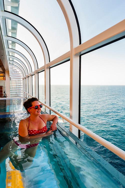 "Aboard the new Disney cruise ship ""Disney Dream"" sailing between Florida and the Bahamas."