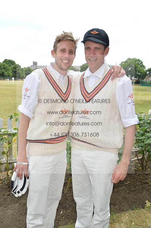 Left to right, GEORGE FROST and BEN ELLIOT at the Flannels For Heroes cricket competition in association with Dockers held at Burton Court, Chelsea, London on 19th June 2015