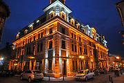 art nouveau building illuminated at night. Batumi, Adjara, Georgia