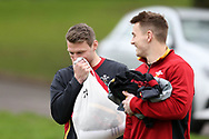 Jonathan Davies and Dan Biggar of Wales (l)  share a joke as they arrive for Wales Rugby team training at the Vale Resort, Hensol near Cardiff, South Wales on Wednesday 8th March 2017. The team are preparing for the the RBS Six nations match against Ireland.  pic by  Andrew Orchard, Andrew Orchard sports photography.