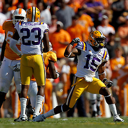 Oct 2, 2010; Baton Rouge, LA, USA;LSU Tigers safety Brandon Taylor (15) celebrates a defensive stop against the Tennessee Volunteers during the first quarter at Tiger Stadium. LSU defeated Tennessee 16-14.  Mandatory Credit: Derick E. Hingle