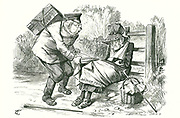 Germany stealing Britain's position as world leader in trade and manufacture.  Cartoon by John Tenniel from 'Punch', 5 September 1896.