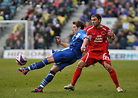 Photo: Tony Oudot/Richard Lane Photography. <br /> Gillingham Town v Carlisle United. Coca-Cola League One. 21/03/2008. <br /> Nicky Southall of Gillingham clears from Grant Smith of Carlisle