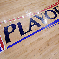 21 April 2014:  Close view of the NBA Playoffs logo on the court prior to the Los Angeles Clippers 138-98 victory over the Golden State Warriors, during Game Two of the Western Conference Quarterfinals of the NBA Playoffs, at the Staples Center, Los Angeles, California, USA.