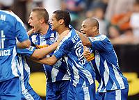 Fotball<br /> Tyskland<br /> Foto: Witters/Digitalsport<br /> NORWAY ONLY<br /> <br /> 09.08.2009<br /> <br /> Jubel 3:3 v.l. Stanislav Sestak, Mimoun Azaouagh, Joel Epalle Bochum<br /> Bundesliga VfL Bochum - Borussia Mönchengladbach 3:3