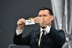 NYON, SWITZERLAND - Monday, December 14, 2020: Former Portugal player Maniche draws out Arsenal FC during the UEFA Europa League 2020/21 Round of 32 draw at the UEFA Headquarters, the House of European Football. (Photo Handout/UEFA)