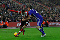 Football - 2016 / 2017 Premier League - Southampton vs Chelsea<br /> <br /> Southampton's Sofiane Boufal finds his way forward blocked by Nemanja Matic of Chelsea at St Mary's Stadium Southampton <br /> <br /> COLORSPORT/SHAUN BOGGUST