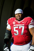 Nov 23, 2012; Fayetteville, AR, USA; Arkansas Razorbacks defensive tackle Jared Green (57) waits to be recognized for Senior Day before a game against the Louisiana State Tigers at Donald W. Reynolds Stadium.  LSU defeated Arkansas 20-13. Mandatory Credit: Beth Hall-US PRESSWIRE
