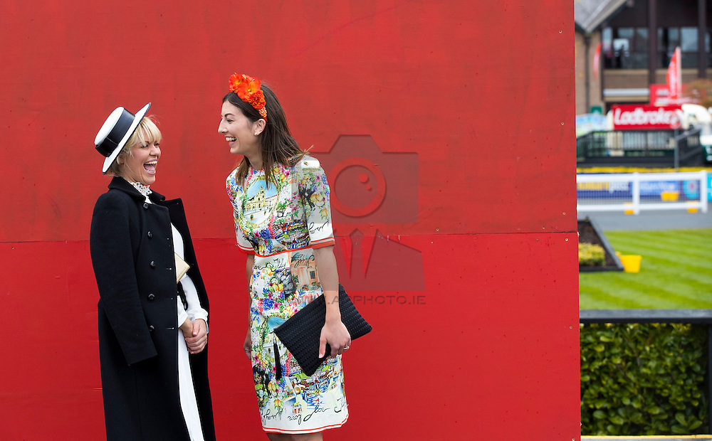 Repro Free: 28/04/2016 Roisin Cogan and Louise Keatles  from Kildare pictured on day three of the Punchestown Racing Festival. Picture Andres Poveda