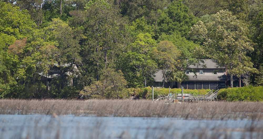 The houses at 33 Pine View, as seen from a marsh in the May River.