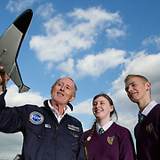 05.10.2016       <br /> European Space Education Resource Office (ESERO) Ireland and the CEIA – Cork's Technology Network – are calling on secondary school students to take their first step into the world of space exploration. Teams of senior cycle students from across Ireland are being asked to design, build and launch mini-satellites in the shape of a soft drink can as part of the ESERO Ireland and CEIA CanSat Competition. <br /> <br /> Pictured at the launch were, Limerick man Cyril Bennis, Space Tourist with Thomond Community College students, Danika Worthy and Adam Kelly at Limerick Institute of Technology.<br /> <br /> The competition, now in its seventh year, was officially launched today (Wednesday) in Limerick Institute of Technology by 'space tourist' and Limerick man Cyril Bennis, as part of National Space Week. Picture: Alan Place