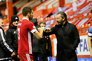 Aberdeen Manager Derek McInnes congratulates Aberdeen defender Tommie Hoban (3) during the Scottish Premiership match between Aberdeen and Hamilton Academical FC at Pittodrie Stadium, Aberdeen, Scotland on 20 October 2020.