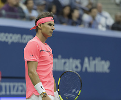 September 6, 2017 - New York, New York, United States - Rafael Nadal of Spain reacts during match against Andrey Rublev of Russia at US Open Championships at Billie Jean King National Tennis Center  (Credit Image: © Lev Radin/Pacific Press via ZUMA Wire)