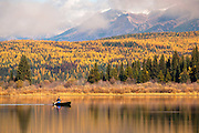 Fall colors on Rainy Lake, Montana.