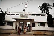 Christian refugees from Kandmahal district in front of the church at Peyton sahi relief comittee in Orissa's capital Bhubaneswar. .Nov. 03, 2008.