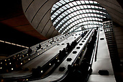 Entrance to Canary Wharf Underground Station. This grand entrance fits the location, amongst London's tallest buildings / financial district.