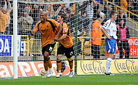 Molineux Wolverhampton Wanderers v Sheffield Wednesday  16/08/2008 Championship<br /> Chris Iwelumo celebrates Wolves third goal with Matt Jarvis<br /> Photo Roger Parker  Fotosports Interntional