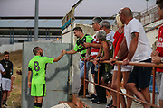 Forest Green Rovers Liam Noble(8) thanks the travelling supporters during the Pre-Season Friendly match between SC Farense and Forest Green Rovers at Estadio Municipal de Albufeira, Albufeira, Portugal on 25 July 2017. Photo by Shane Healey.
